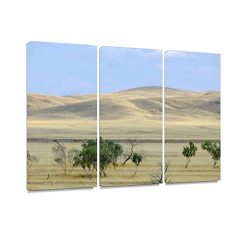 (7houarts Autumn Landscape, Steppe with Mountains. Prairie, veld. Grassland Canvas Wall Artwork Poster Modern Home Wall Unique Pattern Wall Decoration Stretched and Framed - 3 Piece)