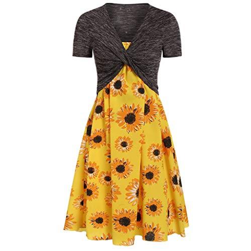 (Long Dresses for Women Party,Yezijin Women's Summer Fresh Sunflower Print Dress Sling Set Cardigan Two-Piece Set)