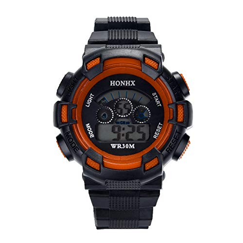 Hattfart Kids Watches Outdoor Sports Children Watch Stopwatch Quartz Watch Boy Girls LED Digital Alarm Wristwatch (Orange) (Stopwatch Mens Resin)