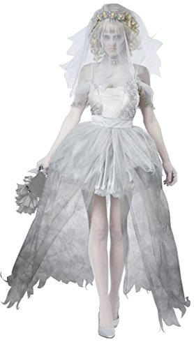 [MERRYCOCO Adult Halloween Ghost Costume corpse bride and bridegroom costume (XL, Bride)] (Ideas For Halloween Costumes 2016 Couples)