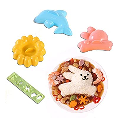 Cute Cartoon Sunflower Dolphin Rabbit Shaped Rice Ball Onigiri Mold Mould with Nori Punch Kits Sushi Plates Maker Small Pastry Molds