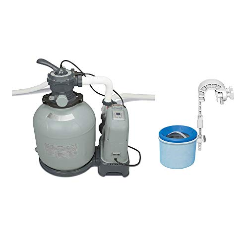 Intex Krystal Clear 2650 GPH Saltwater System & Sand Filter Pump Pool Set PartsIntex Deluxe Wall-Mounted Swimming Pool Surface Automatic Skimmer | 28000E (Saltwater Pool Pump & Filter)