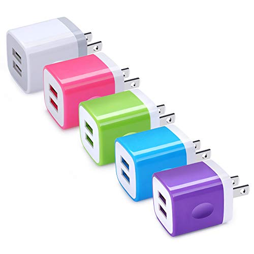 USB Wall Charger, Hootek 5 Pack 2.1A Dual Port USB Phone Charger Adapter Charging Block Cube Compatible iPhone Xs Max/XS/XR/X/8, Samsung Galaxy S10 S9 S8 Plus Note 10 9, LG, Kindle, Oneplus 7 pro/7/6