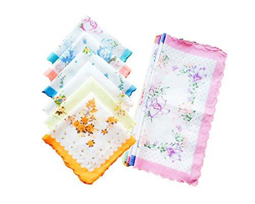 (Womens/Girls Vintage Floral Cotton Handkerchiefs with Scalloped Edge Bulk Pack)