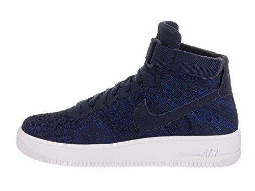 Zapatillas de baloncesto Nike AF1 Ultra Flyknit Mid College azul marino / azul marino para universitarios 12 hombres US