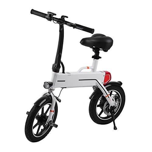 Folding Outdoor Electric Bicycle Built in 36V Lithium-Ion Battery Bike E-Bike by Happystore999