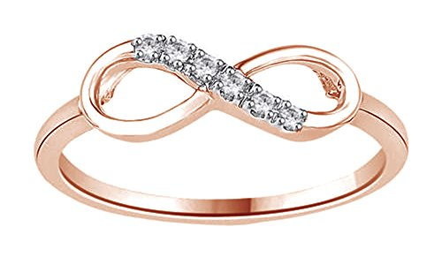 White Natural Diamond Infinity Ring in 14k Rose Gold Over Sterling Silver (0.05 Ct)