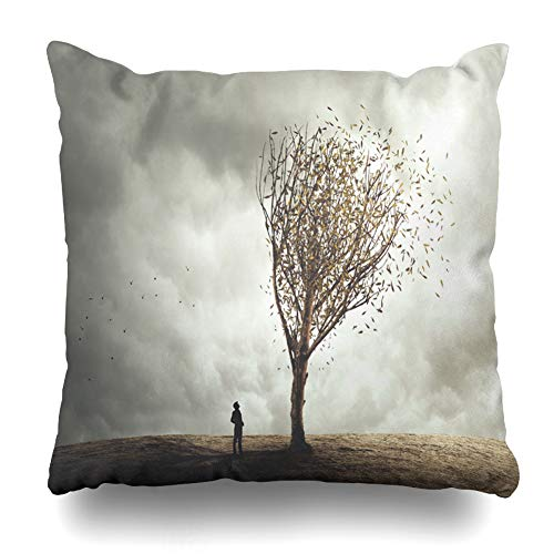 Kutita Decorativepillows Covers 18 x 18 inch Throw Pillow Covers, Surreal Tree in Autumn Foliage Pattern Double-Sided Decorative Home Decor Pillowcase Sofa Bedroom Car