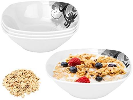 Pack de cuatro cuencos de desayuno Van Well. Cuenco para cereales, cuenco para sopa, bol. 14,2 cm, blanco. Disponible con varios estampados: Amazon.es: Hogar
