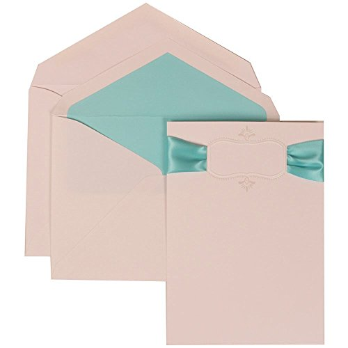 JAM Paper Wedding Invitation Set - Large (5 1/2'' x 7 3/4'') - Ivory Card with Monogram and Blue Ribbon, Tropical Blue Lined Envelopes - 50/pack by JAM Paper