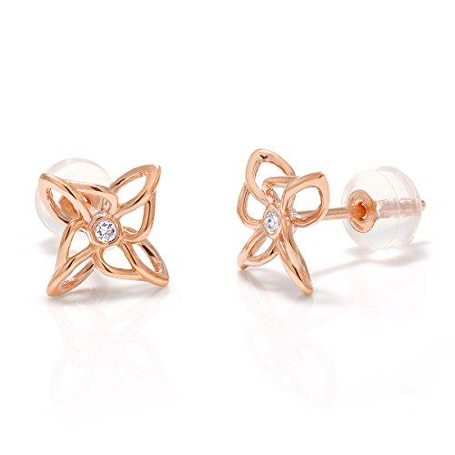 Gem Stone King 10K Solid Rose Gold White Diamond Flower Shape Stud Earrings, 0.237 - Flower Birthstone 10k Earrings Gold