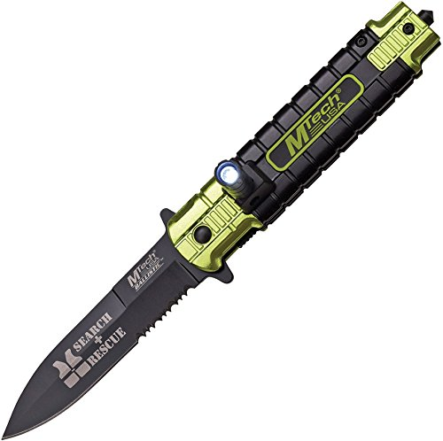 MT-A859YL-MC Mtech Mt-A859YL 3.58″ Blade with LED Light Yellow/Black Ballistic Spring Assist Knife For Sale