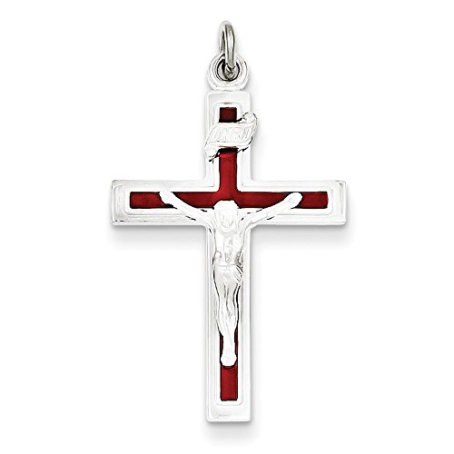 West Coast Jewelry Sterling Silver Enameled Crucifix Pendant