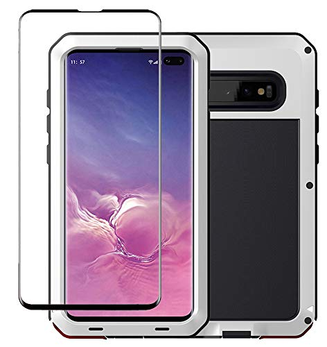 (Galaxy S10 Plus Case, Military Grade Drop Tested, Anodized Aluminum, Heavy Duty, Full-Body Dual Layer Rugged, TPU and Metal Protective Case for Samsung Galaxy S10 Plus (White))