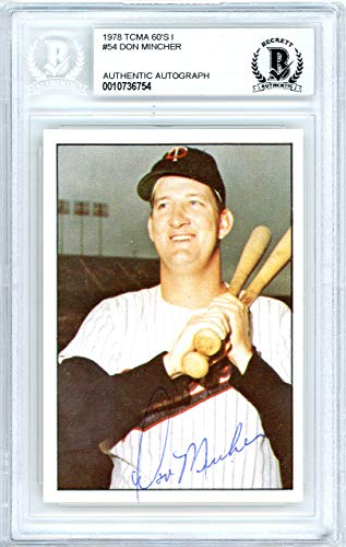 Don Mincher Autographed 1978 TCMA Card #54 Minnesota Twins Beckett BAS #10736754 ()