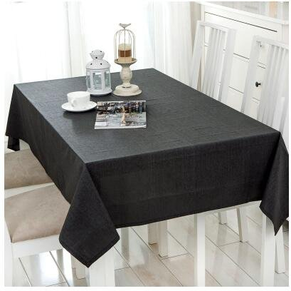 Simple Modern Waterproof Tablecloth Linen Pure Color Conference Tablecloth Table Cloth Coffee Table Cover  Black B07S68LKQD