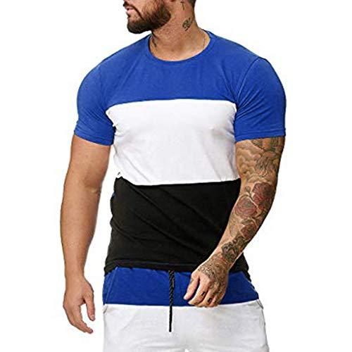 Mens Contrast Color Block Casual Short Sleeve Crewneck Slim Fit T Shirt Soft Tee Tops (XL, Blue) (Victorian Furniture Garden Sale For)