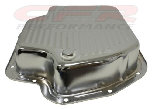 Chevy//GM Turbo TH-400 Steel Transmission Pan Deep Sump Chrome