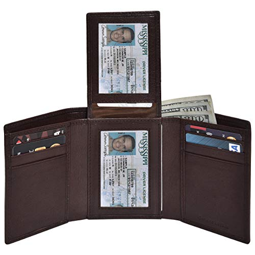 (RFID Leather Trifold Wallets for Men - Handmade Slim Mens Wallet Credit Card Holder with ID Window (Small, Brown Vegetable Tanned))