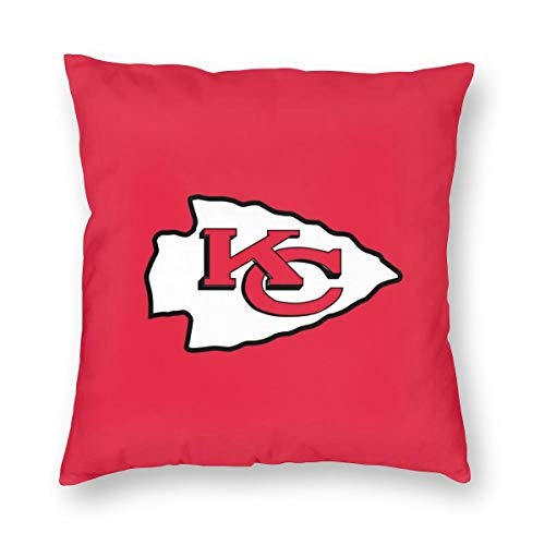 MamaTina Design Colorful Square Pillowcase Kansas City Chiefs Football Team Sofa Cushion Cover Soft Pillow Cover Invisible Zipper Pillow Case Protector for Bed 1 Pc - 18X18 Inch