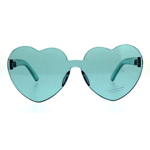 Womens Heart Shape Rimless Shield Hippie Groove Valentine Sunglasses Teal -