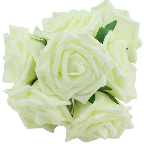 Bridesmaid Wedding Bouquet (10pcs Classic White Purple Pink Lvory Beige Rose Flowers for Wedding Bridesmaid Bridal Bouquet)