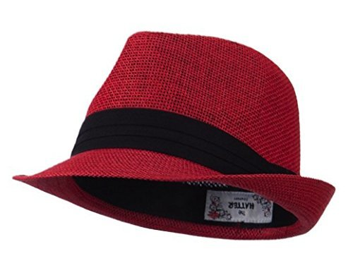 Hatiya Kid's Paper Straw Black Band Fedora - Red -