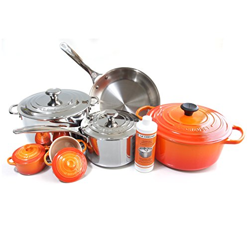 Le Creuset 11 Piece Flame Cookware Set with Bonus Le Creuset Stainless Steel Cleaner