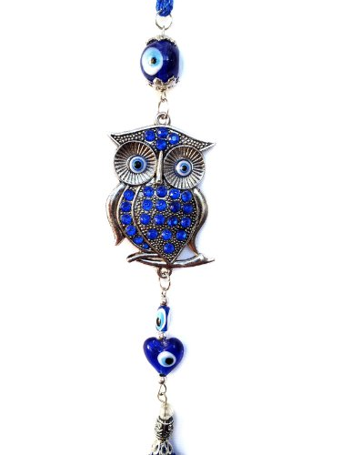 Blue Evil Eye Decor Charm Hanging with Owl for Protection (with a Betterdecor Pouch)-25