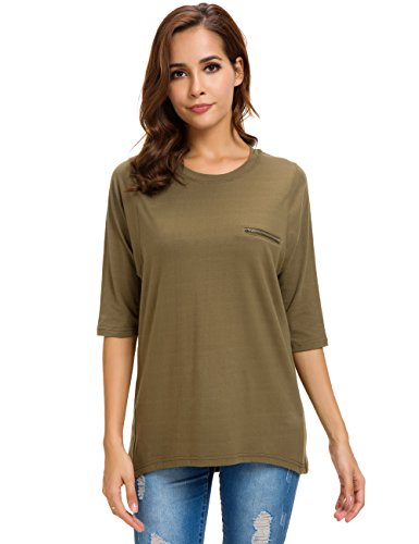 Nordicwinds Womens Half Sleeves Casual Cotton T-Shirt Loose Crew Neck (Casual Half Sleeve)