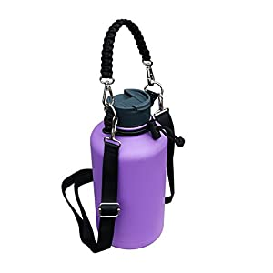 QICAIPO Hydro Flask Paracord Handle Carrier Holder with Shoulder Strap Fits 12, 16, 18, 20, 32, 40, 64 oz Wide Mouth Bottles (Black)