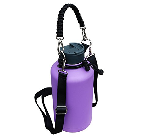 (QICAIPO Paracord Handle Carrier Holder with Shoulder Strap Fits Hydro Flask 12, 16, 18, 20, 32, 40, 64 oz Wide Mouth Bottles (Black))