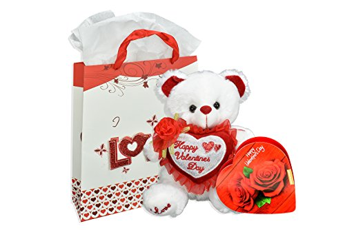 Deluxe Happy Valentines Day Plush Bear, Gift Bag And Heart Shaped Chocolates (Sale Valentine Hearts)