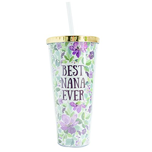 Best Nana Ever Purple Salem Floral 24 Ounce Straw Tumbler with Goldtone Lid