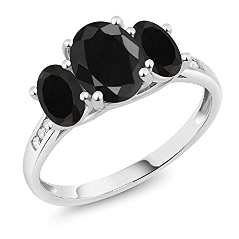 10K White Gold Diamond Accent Oval Black Sapphire Black Onyx 3-Stone Ring 2.44 Ct, Available in size (Oval Cut Black Onyx Ring)