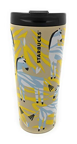 Starbucks 2018 Stainless Steel Tumbler 16oz Insulated Travel Mug for Summer and Fall, Zebra Striped Design, Great Gift for Halloween and your favorite Coffee or Pumpkin Spice Latte BPA Free
