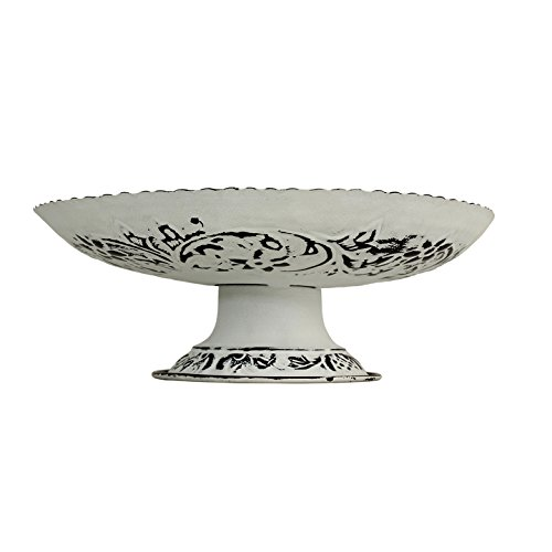 Store Indya Metal Tray Fruit Bowl Pedestal Basket Hand Crafted with Floral ()