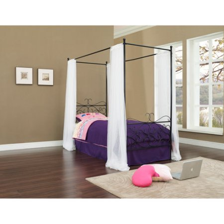(eshion Canopy Wrought Iron Princess Twin Bed, Multiple Colors (Black))