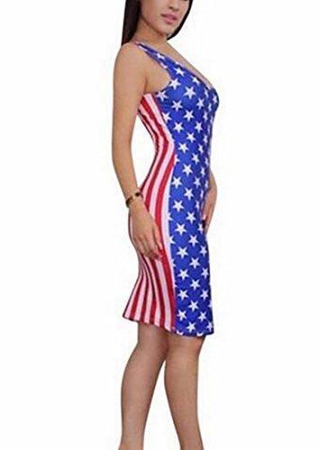 Stampa Matita Come Flag Schienale Dalla Senza Usa Donne Vestito Immagine Jaycargogo Stella A Righe FS0ZqW