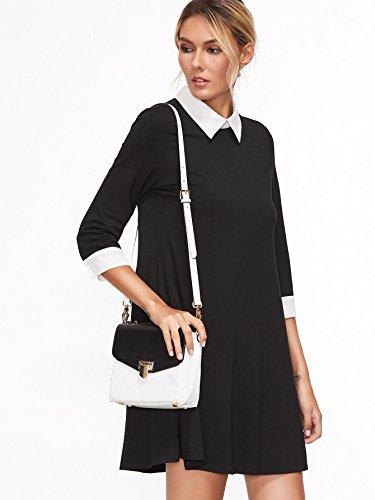 Dresses 3 Swing Sleeve Casual 4 Tshirt Simple Dress Floerns Contrast Women's Collar Black Flowy 7zTgqg