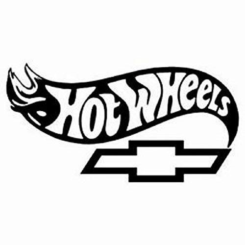 Hot Wheels Chevy Bowtie Vinyl Decal Compatible with Chevrolet Silverado 1500 Tahoe Impala Blazer Car Truck Window Bumper Sticker Choose Size and Color (Black, ()