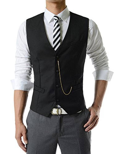 TheLees (GVE) Mens Business Slim Fit Chain Point 4 Button Vest Waist Coat BLACK US XL(Tag size 3XL)