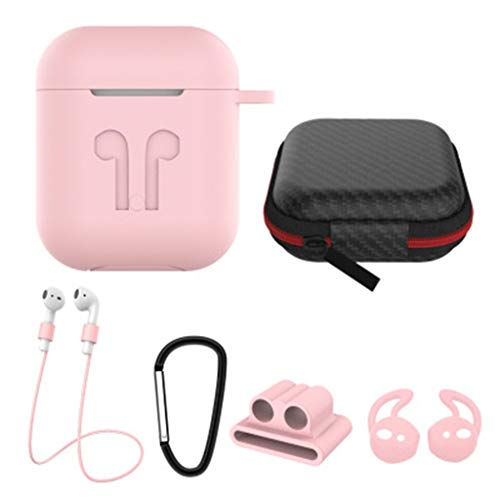 (Sodoop 6 in 1Airpods Accessories Set, Airpods Waterproof Silicone Case Cover with Keychain/Buckle/Earhooks/Earbuds/Accessories Storage Travel Box for Apple Airpod )