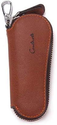 Uioy Estuche para Llaves Cortas - Bolso con Cremallera con Llavero de Cuero Superior Oval para Hombres, marrón (Color : Brown, Size : 11 * 5 * 6cm): Amazon.es: Hogar