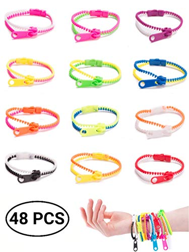UpBrands 48 Pack Friendship Fidget Zipper Bracelets 7.5 Inches Sensory Toys Bulk Set Neon Colors, Kit for Birthday, Party Favors for Kids, Goodie Bags, Easter Egg Basket Stuffers, Pinata Filler,]()