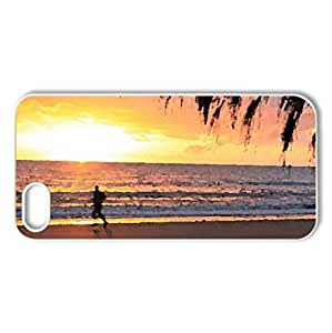 Walk Along The Ocean At Sunset - Case Cover for iPhone 5 and 5S (Beaches Series, Watercolor style, White)