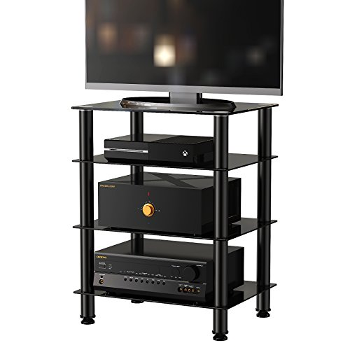 fitueyes 4 tier media stand audio video component cabinet with import it all. Black Bedroom Furniture Sets. Home Design Ideas