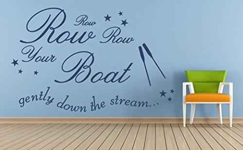 Nursery Rhyme Mural - Row Row Row your Boat, Nursery Rhyme Quote, Vinyl Wall Art Sticker, Mural, Decal. Home, Wall Decor, Children's bedroom, Nursery, Playroom