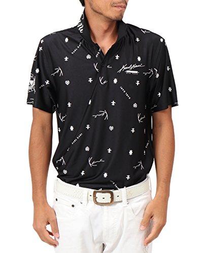 [カールカナイ ゴルフ] Karl Kani GOLF ポロシャツ モノグラム 総柄 カラー ドライ ポロシャツ 182KG1212 ブラック Sサイズ