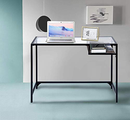 Aingoo Glass Computer Desk Study Writing Table Metal Frame For Student